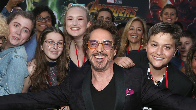 Robert Downy Jr. with Marvel fans