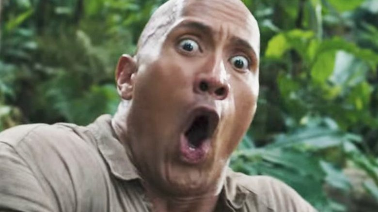 Dwayne Johnson making a funny face in Jumanji