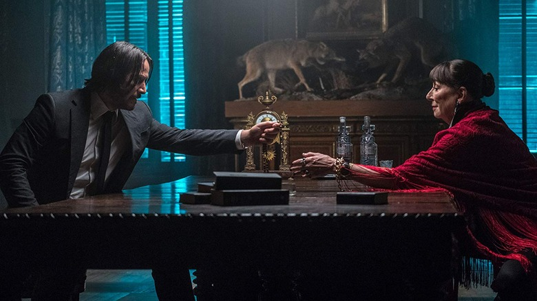 Keanu Reeves and Anjelica Huston in John Wick Chapter 3 Parabellum