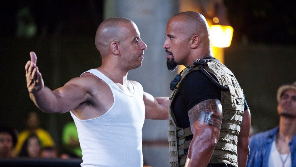 Dwayne Johnson and Vin Diesel as Hobbs and Dom