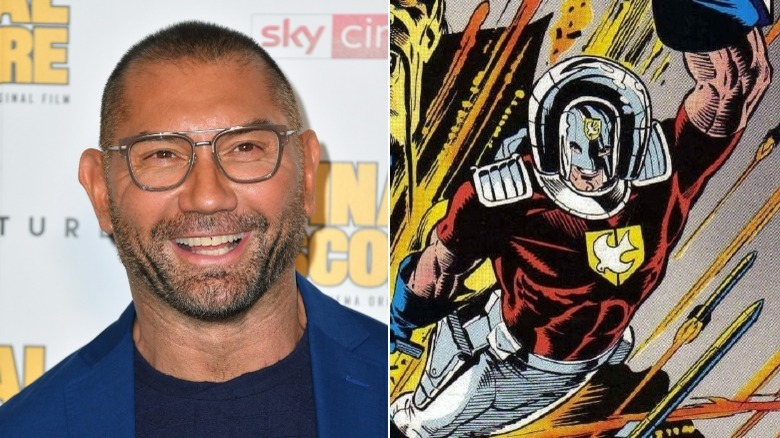 A split image of Dave Bautista at a press event and comic book art of DC's Peacemaker