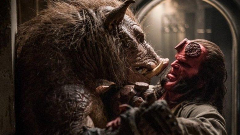 Hellboy fighting the Gruagach