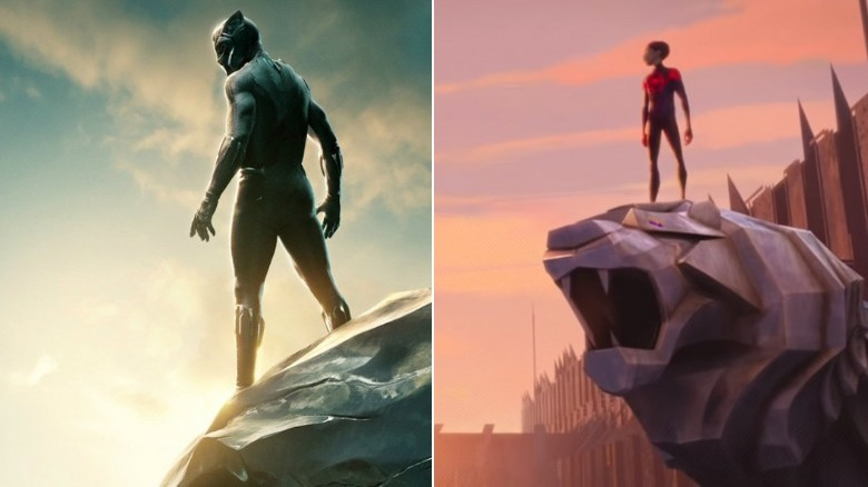 T'Challa/Black Panther and Spider-Man/Miles Morales side-by-side