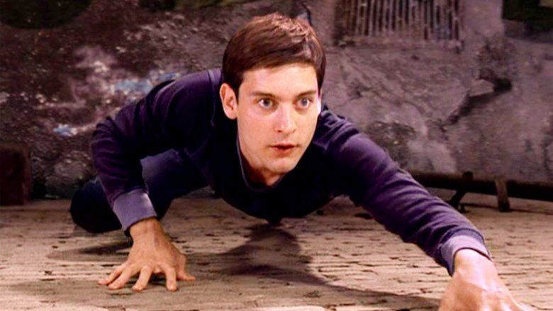 Tobey Maguire learning his wall-crawling ability in Spider-Man