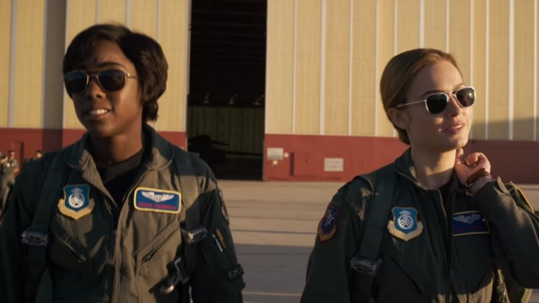 Lashana Lynch as Maria Rambeau and Brie Larson as Carol Danvers/Captain Marvel