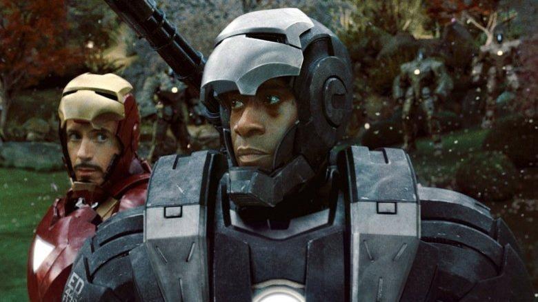 Don Cheadle as War Machine and RDJ as Iron Man in Iron Man 2