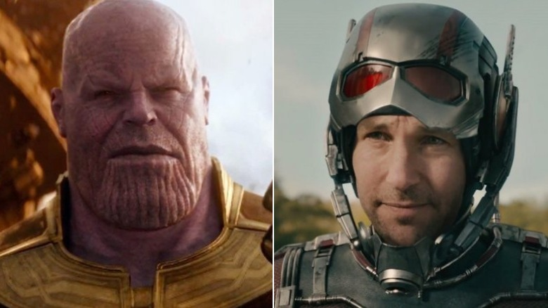 Split image of Thanos and Paul Rudd as Ant-Man