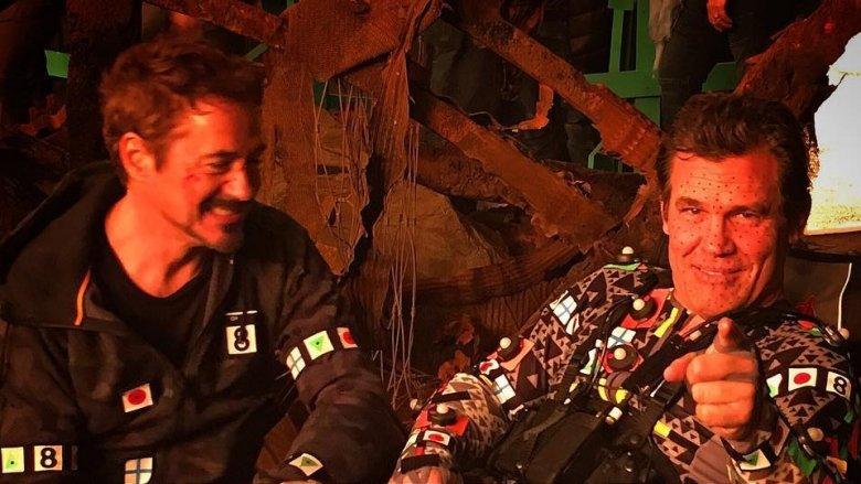 Robert Downey Jr. and Josh Brolin on set of Avengers: Infinity War