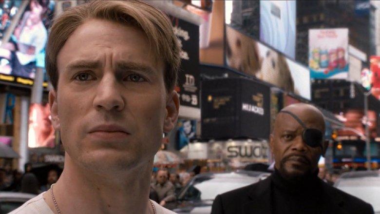 Chris Evans and Samuel L. Jackson in Captain America: The First Avenger