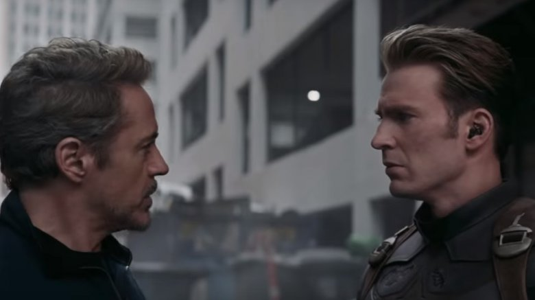 Robert Downey Jr. as Iron Man and Chris Evans as Captain America in Avengers: Endgame