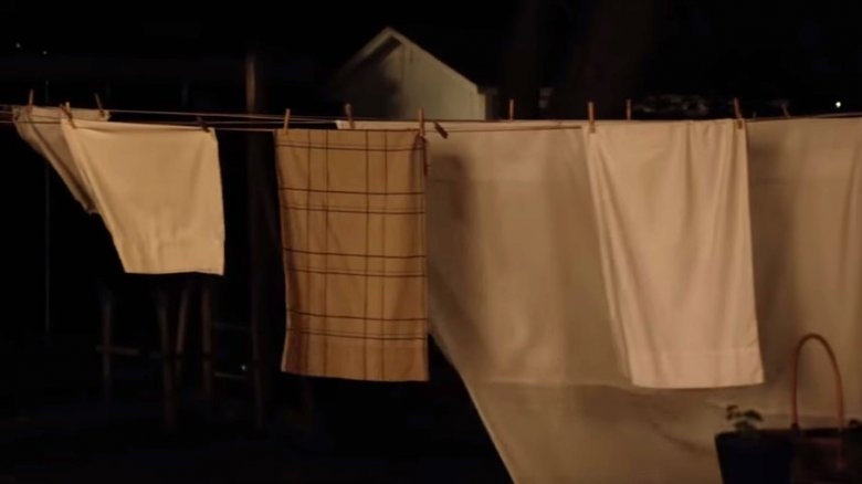 Laundry in the Halloween trailer