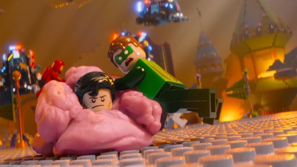 Superman and Green Lantern stuck in gum