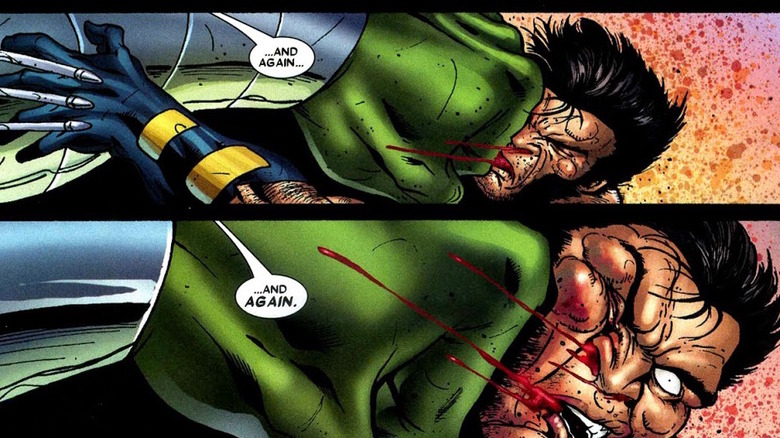 Hulk pounding on Wolverine