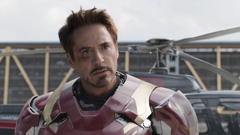 "Robert Downey Jr. as Tony Stark/Iron Man in ""Captain America: Civil War"""