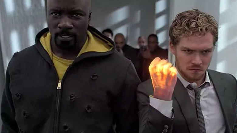 Mike Colter as Luke Cage and Finn Jones as Danny Rand in Netflix's The Defenders