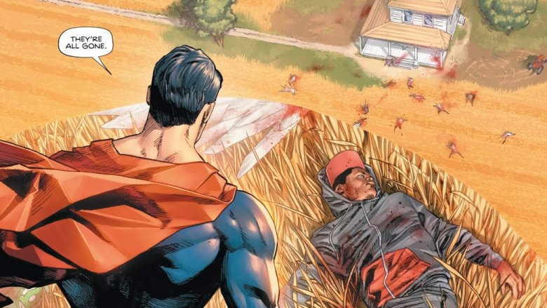 Superman looking over the carnage at Sanctuary in Heroes in Crisis #1
