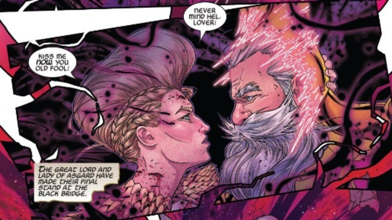 Odin & Freyja embracing moments before their death in War of the Realms #4