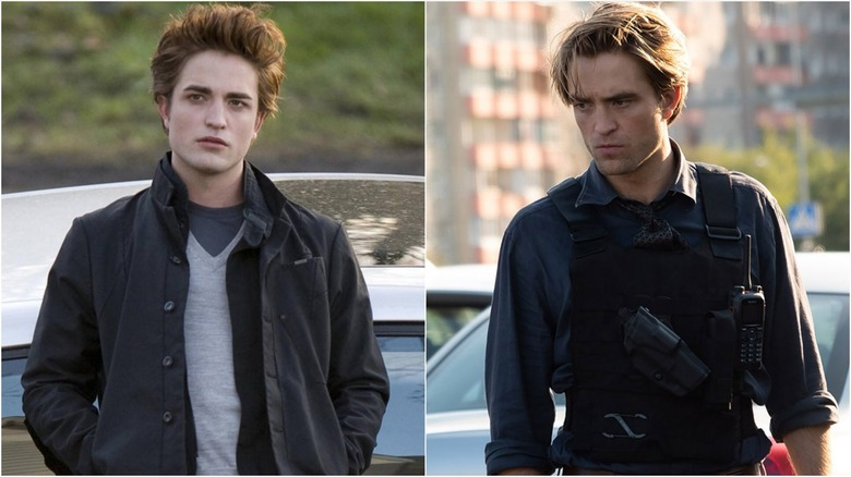 Robert Pattinson in Twilight (L) and Tenet (R)