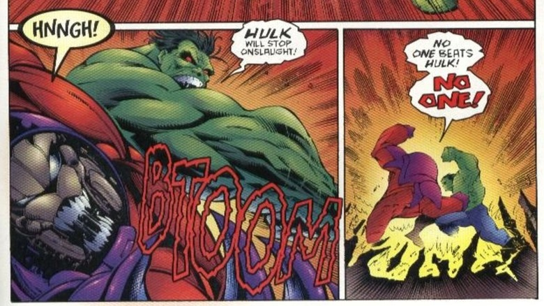 Hulk clashing with Onslaught in 1996's Onslaught: Marvel Universe #1