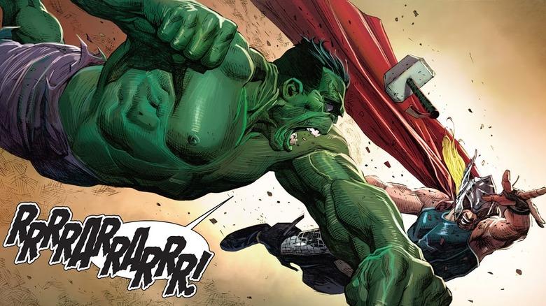 Hulk one-shotting Thor in 2013's Avengers #1