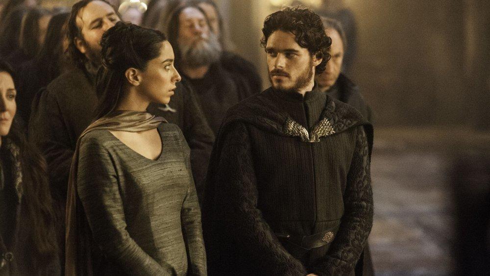 Richard Madden as Robb Stark and Oona Chaplin as Talisa Maegyr on Game of Thrones