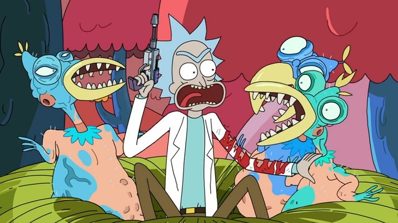 Rick and some Froopyland mutants in episode 0309