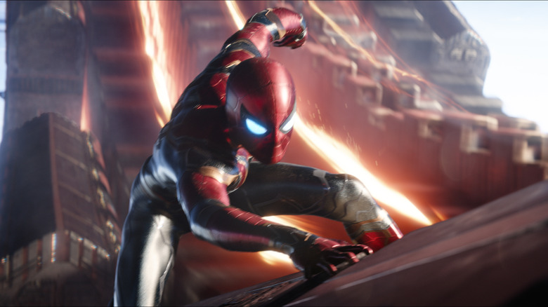 Tom Holland as Spider-Man in Iron Spider costume in Avengers: Infinity War