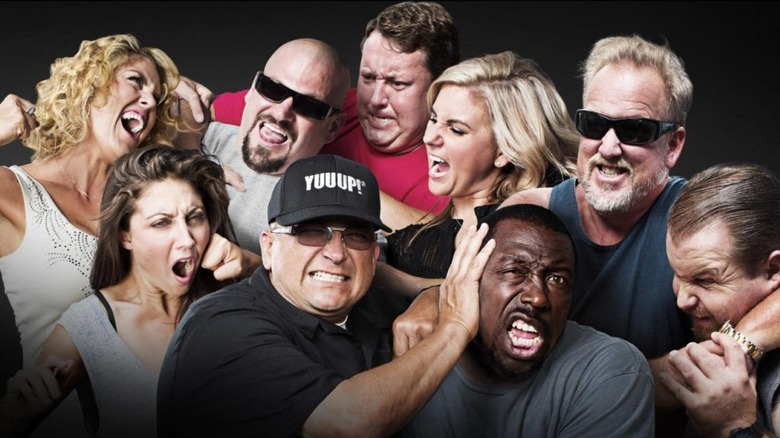 Storage Wars cast fighting in a promotional photo
