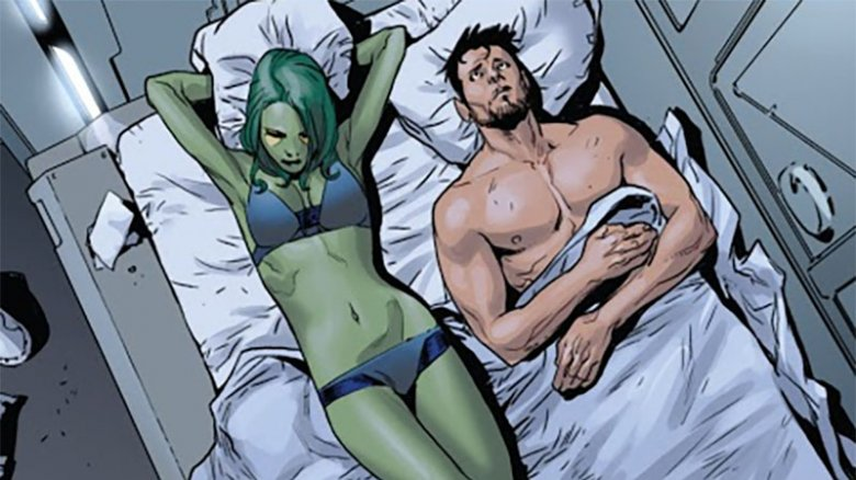 Gamora and Tony Stark