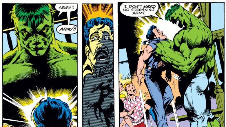 The Professor Hulk confronting a couple of abusive bar patrons in 1991's Incredible Hulk #379
