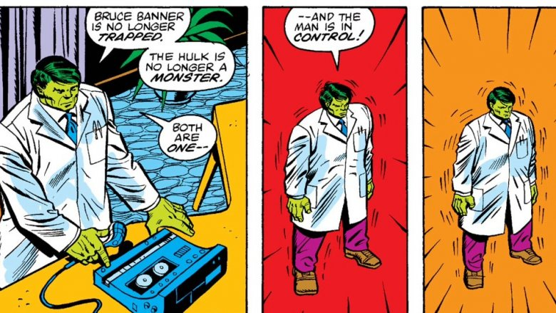 The Banner Hulk transforming in 1983's Incredible Hulk #285