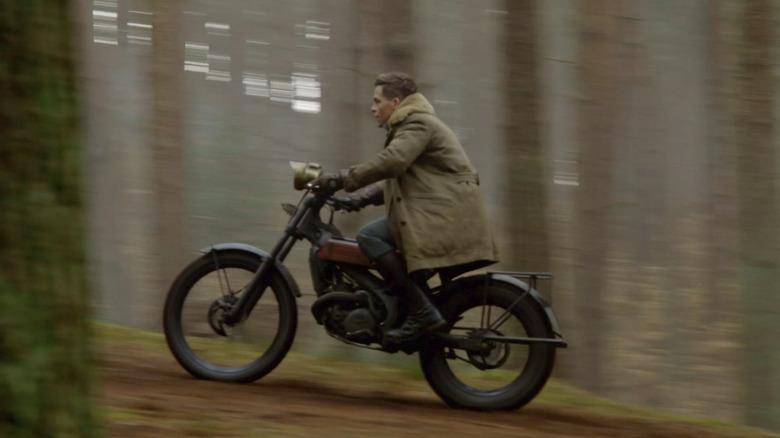 Chris Pine, Steve Trevor on a Motorcycle