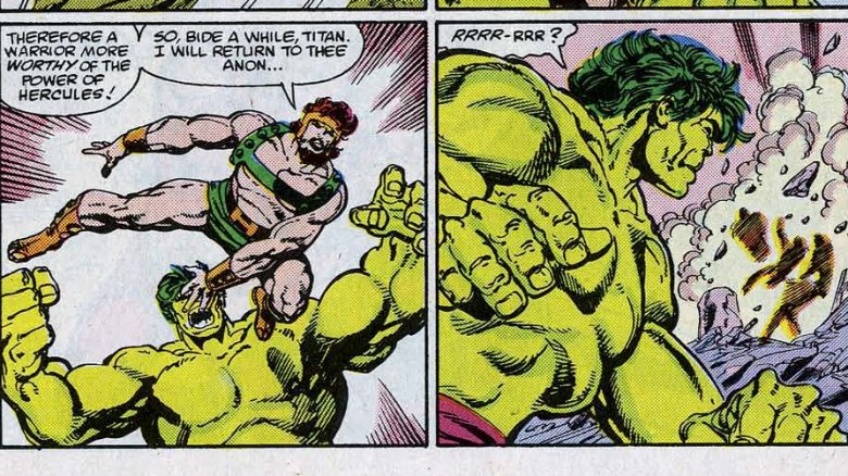 Hercules abandoning his fight with the Hulk in Incredible Hulk #316