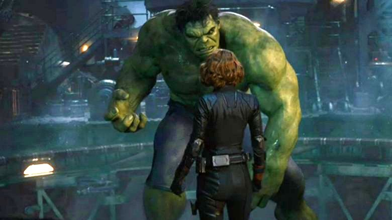 The Hulk and Black Widow in Avengers: Age of Ultron