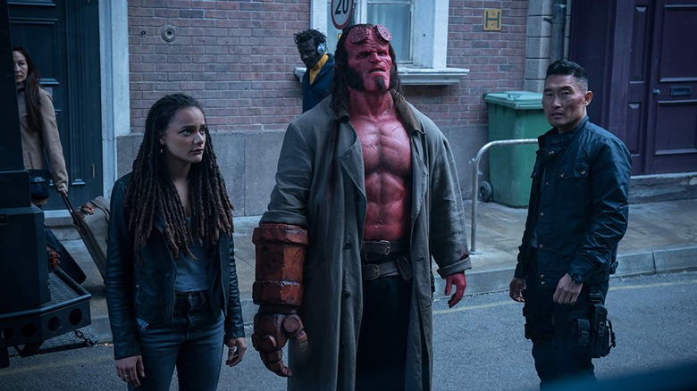 Sasha Lane, David Harbour, and Daniel Dae Kim in Hellboy