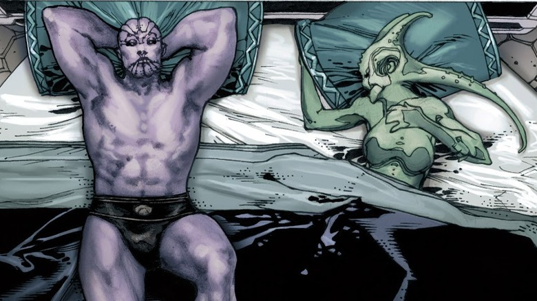 Thanos in bed with an alien from Thanos Rising #3