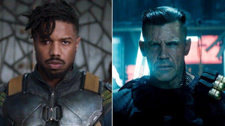 Split-screen of Michael B. Jordan as Killmonger in Black Panther and Josh Brolin as Cable in Deadpool 2