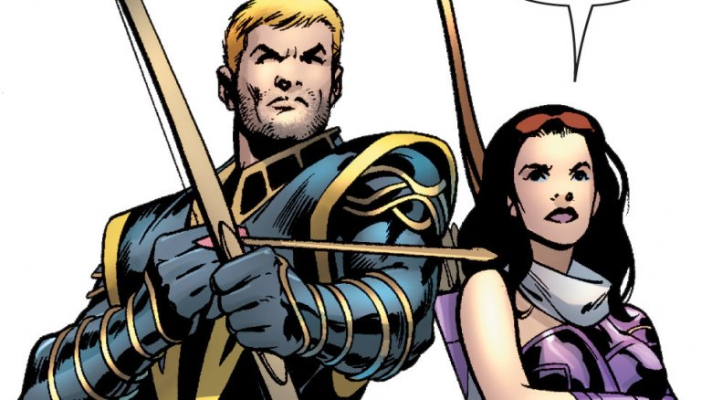 Clint Barton as Ronin and Kate Bishop as Hawkeye in Young Avengers Presents #6