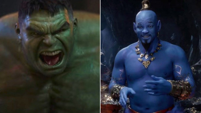 Split image of Hulk in Avengers: Infinity War and Will Smith as the Genie in Aladdin